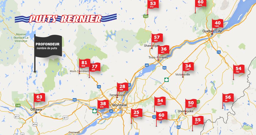 Profondeur moyenne des puits artésiens au Québec